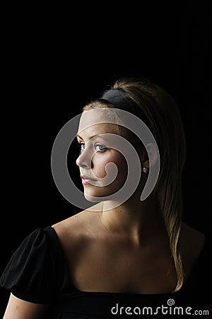Young woman with diamond and o