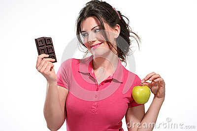 Young woman diet meal chocolate
