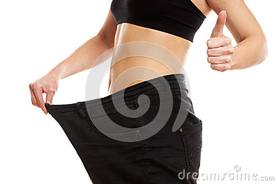Young woman on diets thumb up