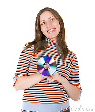 Young woman with disk