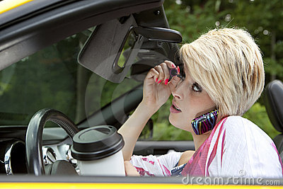Texting While Driving >> Young Woman Distracted While Driving Royalty Free Stock Photos - Image: 21824938