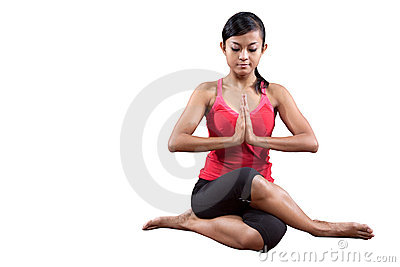 Young woman doing back stretching, isolated