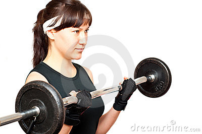 Young woman doing a bicep curl