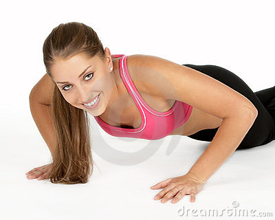 Young Woman Doing Pushup