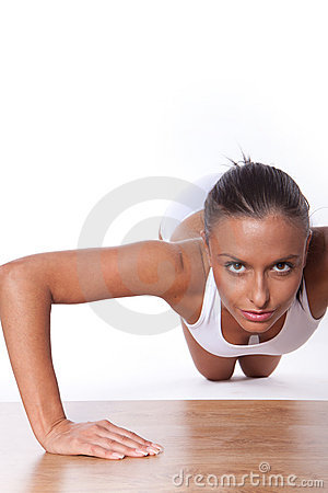 Young Woman Doing Pushups