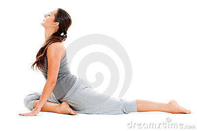 Young woman doing the splits