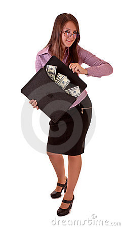 Young woman with dollars in bag