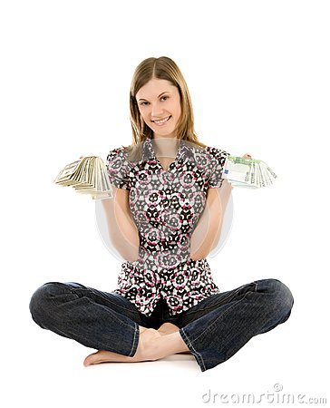 Young woman with dollars and euros; isolated