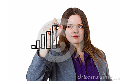 Young woman drawing a bar chart