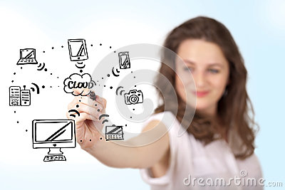 Young woman drawing a cloud computing on whiteboard