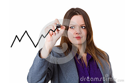 Young woman drawing a curve chart