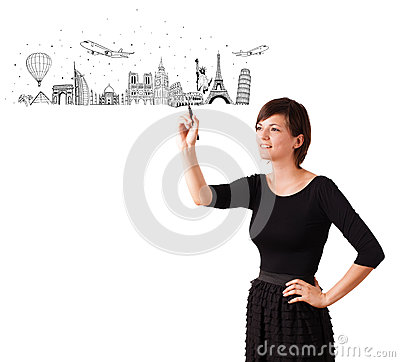 Free Young Woman Drawing Famous Cities And Landmarks On Whiteboard Royalty Free Stock Photography - 34999057