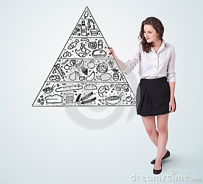 Young woman drawing a food pyramid on whiteboard