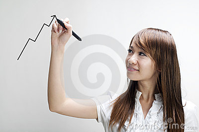 Young woman drawing graph
