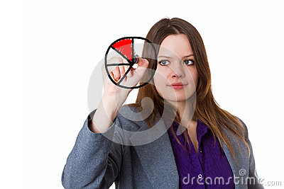 Young woman drawing a pie chart
