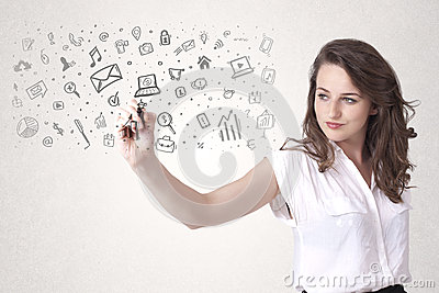 Young woman drawing and sketching icons