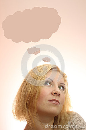 young woman dreaming with thought bubbles