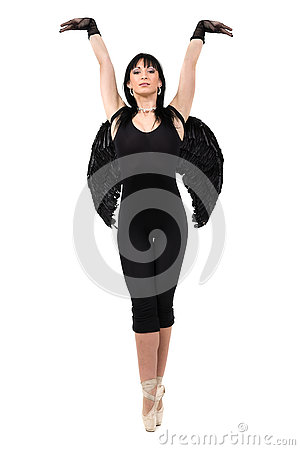 Free Young Woman Dressed As Dark Angel Dancing, Isolated In Full Body On White Stock Photo - 73655870
