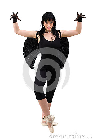 Free Young Woman Dressed As Dark Angel Dancing, Isolated In Full Body On White Royalty Free Stock Photography - 73657507