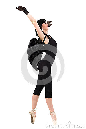 Free Young Woman Dressed As Dark Angel Dancing, Isolated In Full Body On White Stock Photos - 73657513