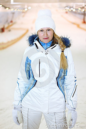 Young woman dressed in indoor ski