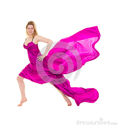 Young woman dressed pink flying tissue