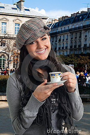 Free Young Woman Drink Coffee In France Royalty Free Stock Photo - 12845585