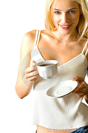 Free Young Woman Drinking Coffee Stock Images - 2909144
