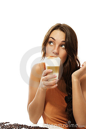 Free Young Woman Drinking Latte Macchiato Coffee Lookin Royalty Free Stock Images - 23559799