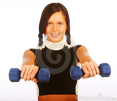 Young woman with dumbbells