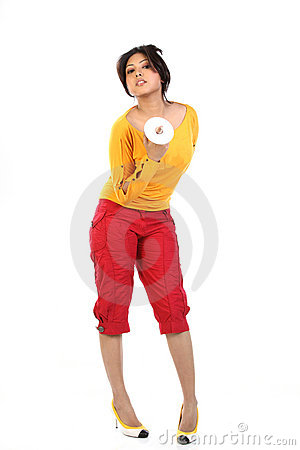 Young woman with DVD