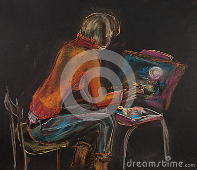 Young woman with easel