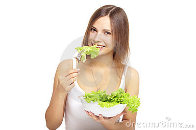 Young Woman Eating Healthy Salad Stock Photography - Image: 20180322