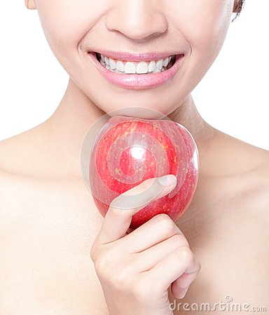 Free Young Woman Eating Red Apple With Health Teeth Stock Images - 31019444