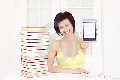 Young woman with ebook