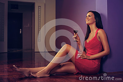 Young woman enjoy wine
