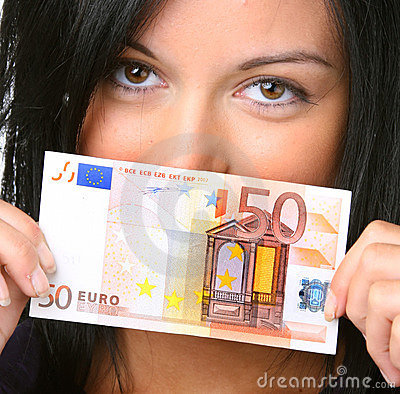 Young woman with euro banknote