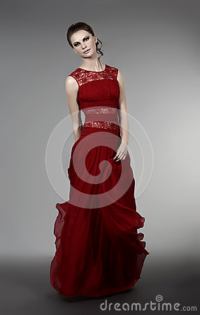 Young woman in evening dress