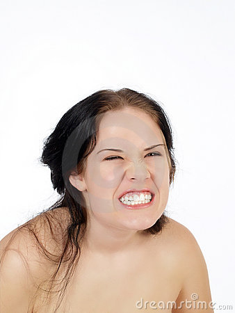 Young woman with exaggerated facial expression