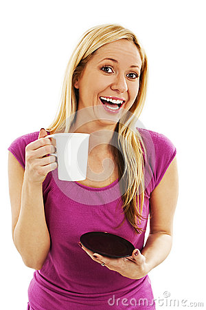 Young woman excited and happy holding her coffee