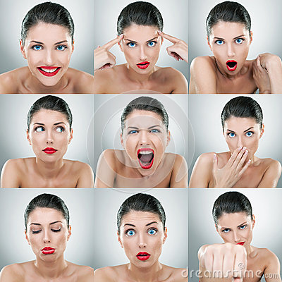 Young woman face expressions composite