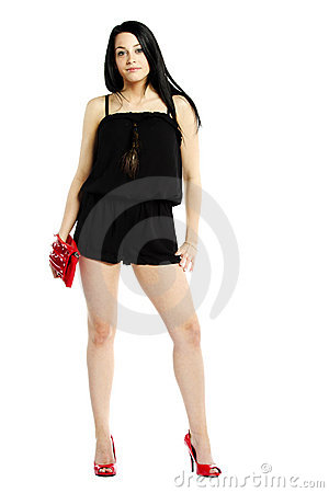 Young woman fashion model in heals