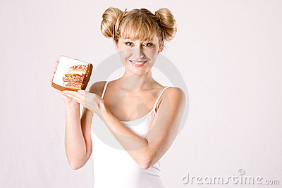 Young woman with a fastfood box