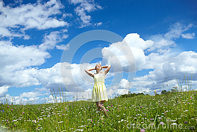 Young woman in the field.
