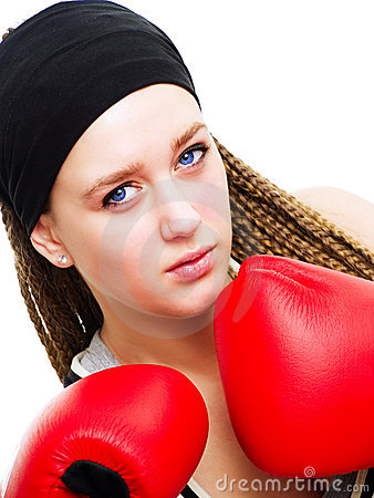Young Woman Fighter With Boxing Gloves Over White Royalty Free Stock Image - Image: 12725006