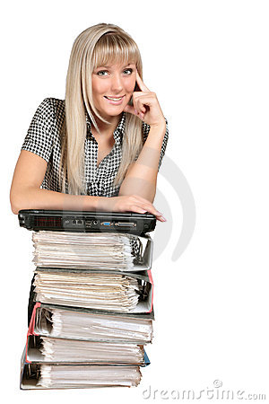 Young woman with files and laptop