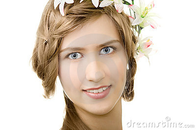Young woman flower garland smile