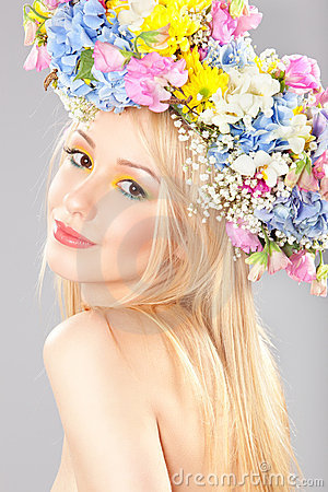 Young woman with flower wreath