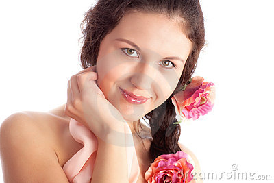 Young woman with flowers tender portrait