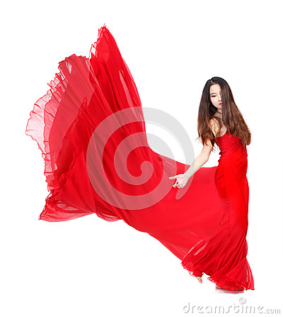 Young Woman in Flowing Red Dress
